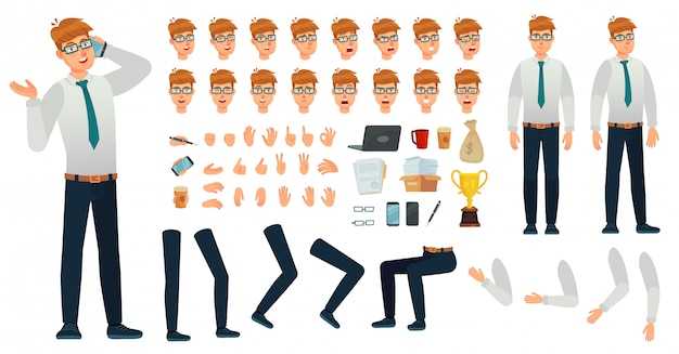 Cartoon manager character kit. office managers creation constructor, different body views, face emotions and gestures vector set