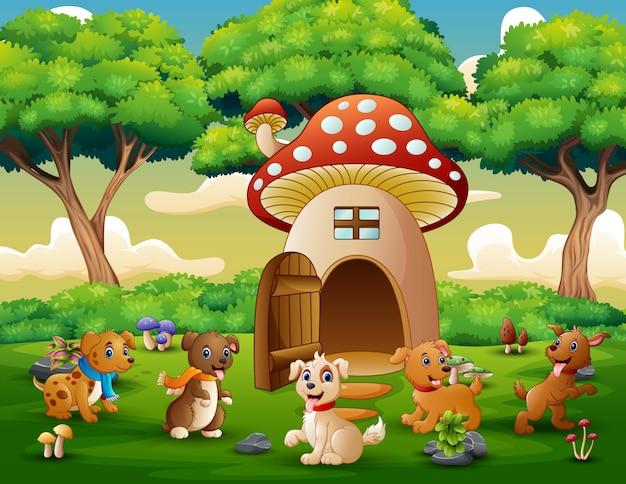 赤いキノコの家の近くの漫画多くの犬