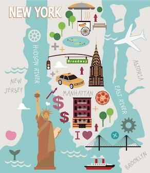 ニューヨーク市の漫画の地図