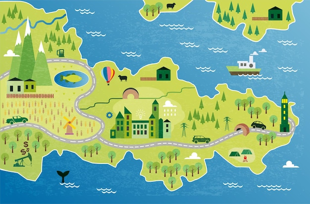Cartoon map with river, mountain and houses