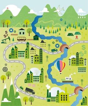 川と漫画の地図
