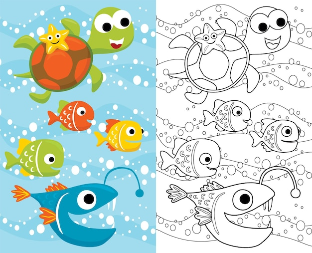 Cartoon of marine animals, starfish on turtle's back with colorful fishes underwater. coloring book or page for kids