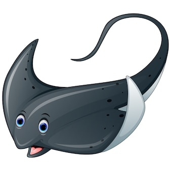 Cartoon marine stingray fish