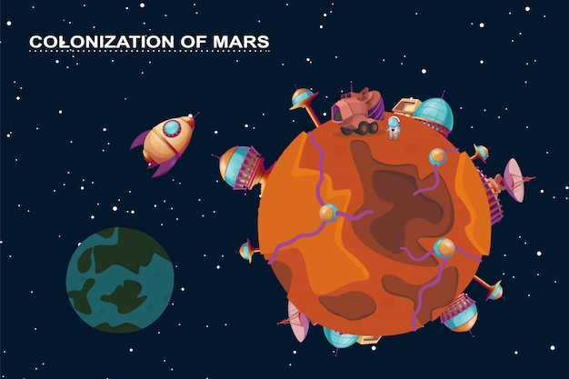 Cartoon mars colonization concept. red planet in space, cosmos with colony buildings