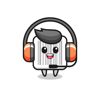 Cartoon mascot of barcode as a customer service , cute design
