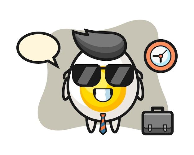 Cartoon mascot of boiled egg as a businessman