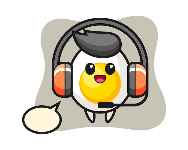 Cartoon mascot of boiled egg as a customer service