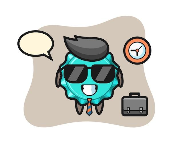 Cartoon mascot of bottle cap as a businessman