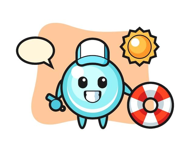 Cartoon mascot of bubble as a beach guard, cute style design