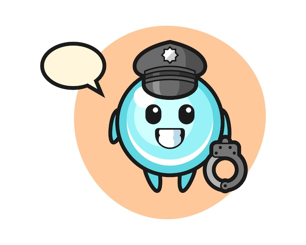 Cartoon mascot of bubble as a police, cute style design