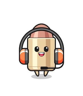 Cartoon mascot of bullet as a customer service , cute style design for t shirt, sticker, logo element