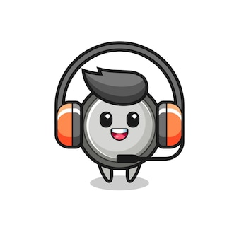Cartoon mascot of button cell as a customer service , cute style design for t shirt, sticker, logo element