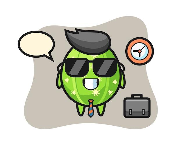 Cartoon mascot of cactus as a businessman