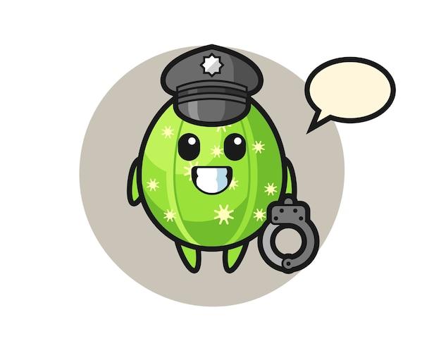 Cartoon mascot of cactus as a police