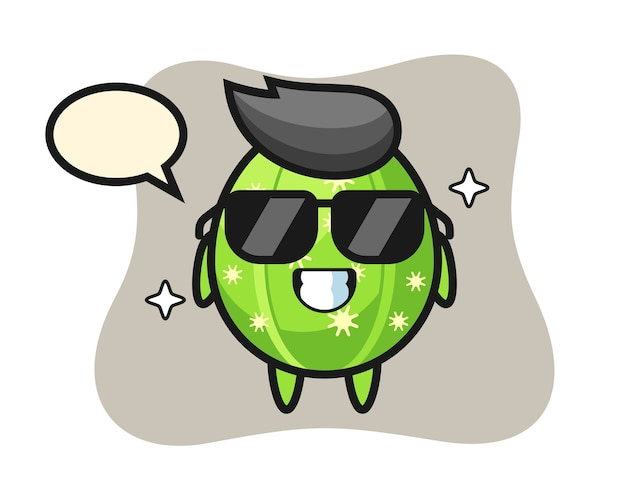 Cartoon mascot of cactus with cool gesture