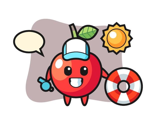 Cartoon mascot of cherry as a beach guard, cute style design