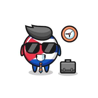 Cartoon mascot of cuba flag badge as a businessman , cute style design for t shirt, sticker, logo element