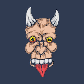 Cartoon mascot of demon creature skull with horn and tongue