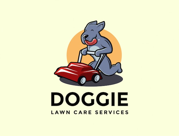 Cartoon mascot of dog lawn care services logo