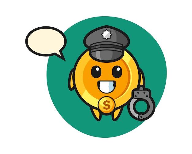 Cartoon mascot of dollar coin as a police