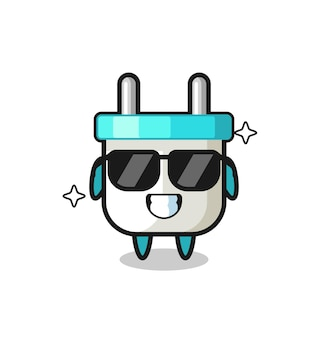 Cartoon mascot of electric plug with cool gesture