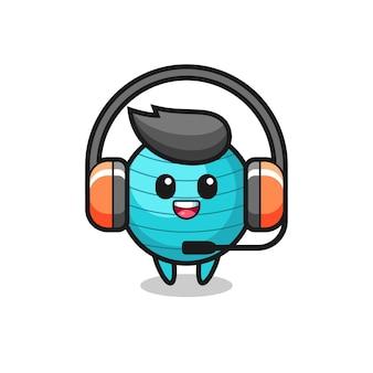 Cartoon mascot of exercise ball as a customer service , cute style design for t shirt, sticker, logo element