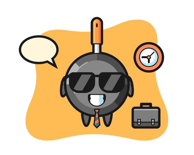 Cartoon mascot of frying pan as a businessman