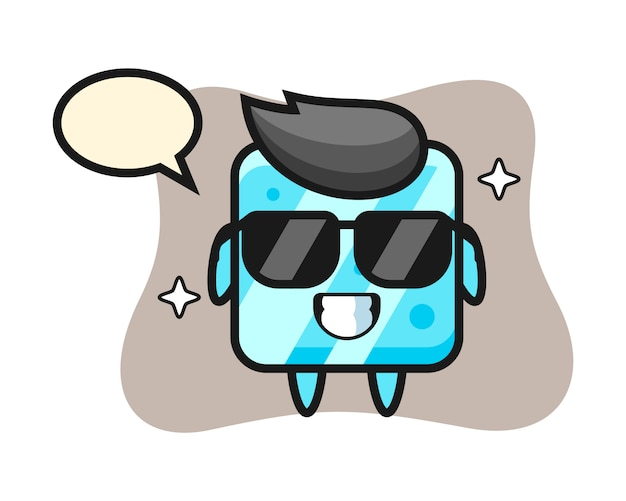 Cartoon mascot of ice cube with cool gesture