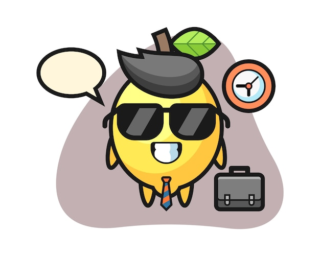 Cartoon mascot of lemon as a businessman