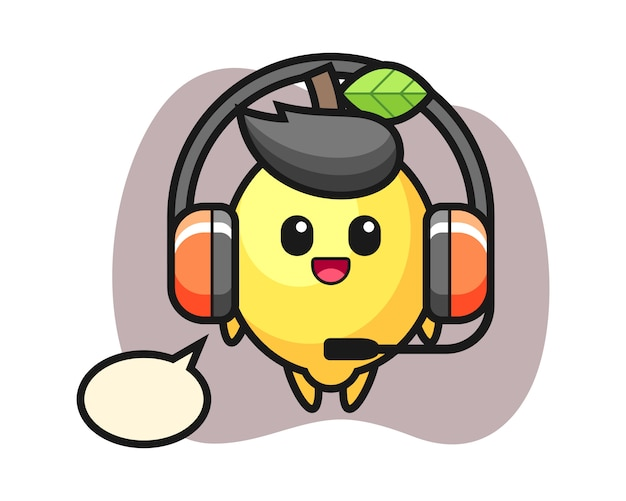 Cartoon mascot of lemon as a customer service
