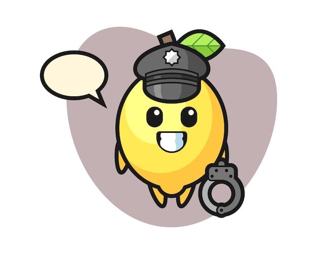 Cartoon mascot of lemon as a police