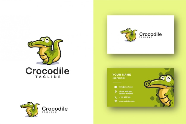 Cartoon mascot logo of crocodile alligator and business card template