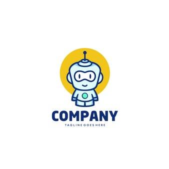 Cartoon mascot logo robot design template