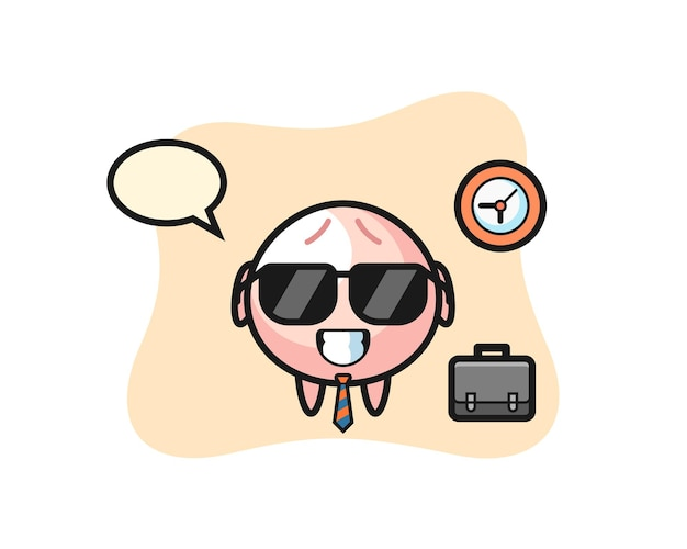 Cartoon mascot of meat bun as a businessman, cute style design for t shirt, sticker, logo element
