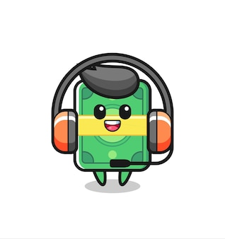 Cartoon mascot of money as a customer service , cute style design for t shirt, sticker, logo element