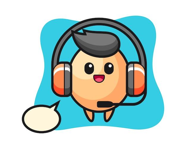고객 서비스로 계란의 만화 마스코트, 티셔츠, 스티커, 로고 요소에 대한 귀여운 스타일 디자인