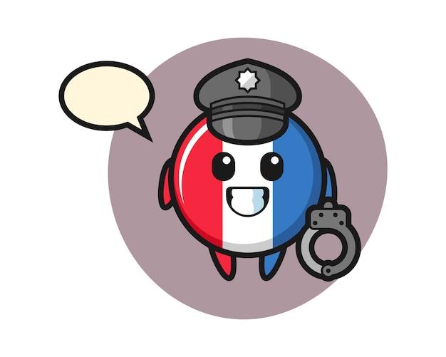 警察としてのフランスの旗のバッジの漫画のマスコット
