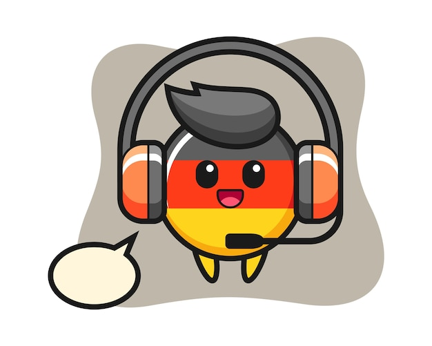 カスタマーサービスとしてのドイツの旗バッジの漫画のマスコット