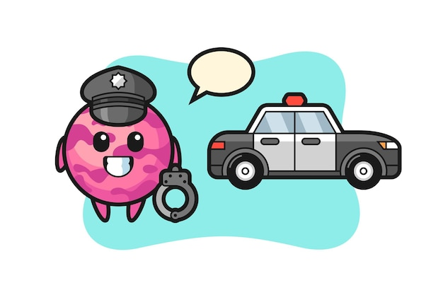 경찰로서 아이스크림 국자의 만화 마스코트, 티셔츠, 스티커, 로고 요소를 위한 귀여운 스타일 디자인