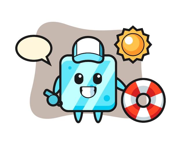 Мультяшный талисман кубика льда в роли охранника пляжа