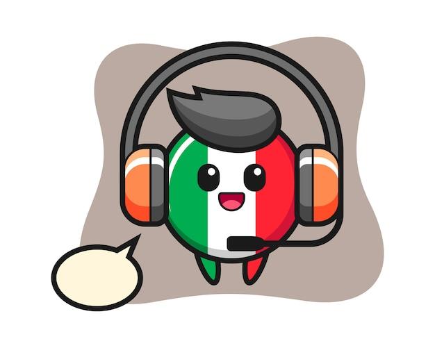 고객 서비스, 귀여운 스타일, 스티커, 로고 요소로 이탈리아 국기 배지의 만화 마스코트