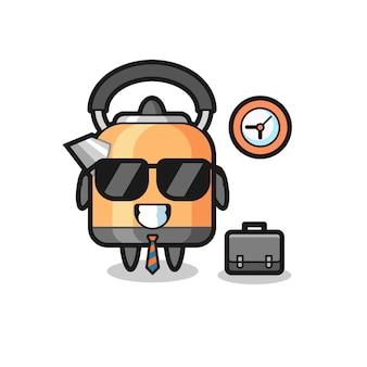 ビジネスマンとしてのやかんの漫画のマスコット、tシャツ、ステッカー、ロゴ要素のかわいいスタイルのデザイン