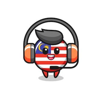 고객 서비스로 말레이시아 국기 배지의 만화 마스코트, 티셔츠, 스티커, 로고 요소를 위한 귀여운 스타일 디자인