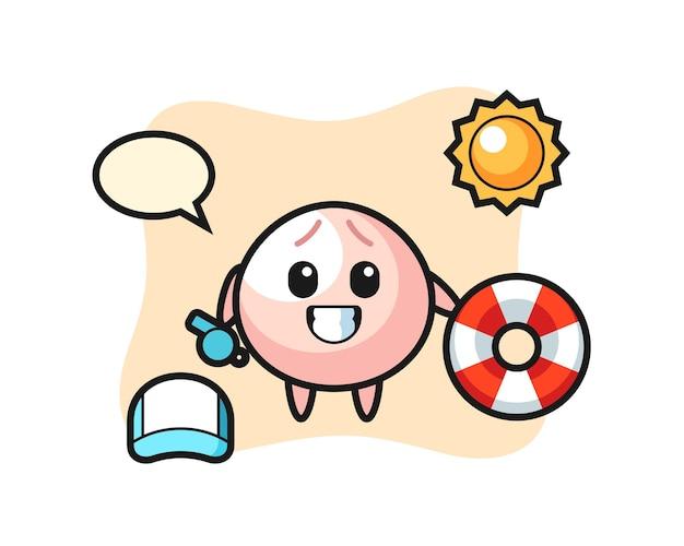 해변 경비원으로 고기 롤빵의 만화 마스코트, 티셔츠, 스티커, 로고 요소를 위한 귀여운 스타일 디자인