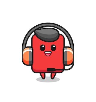 Мультяшный талисман красной карточки как служба поддержки клиентов, милый стиль дизайна для футболки, наклейки, элемента логотипа