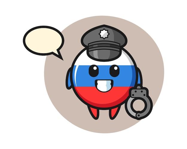 警察、かわいいスタイルのデザインとしてロシアの旗バッジの漫画のマスコット