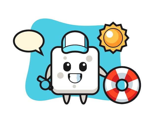 Мультяшный талисман сахарного кубика как пляжного охранника, милый стиль для футболки, стикер, логотип