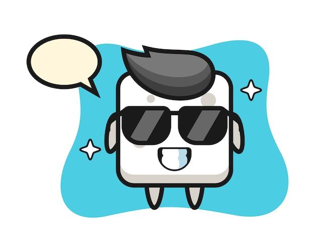 Мультяшный талисман сахарного кубика с крутым жестом, милым стилем для футболки, стикера, логотипа