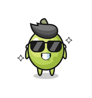 Cartoon mascot of olive with cool gesture , cute style design for t shirt, sticker, logo element