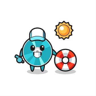 Cartoon mascot of optical disc as a beach guard , cute style design for t shirt, sticker, logo element